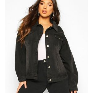 Boohoo Black Oversized Denim Jacket